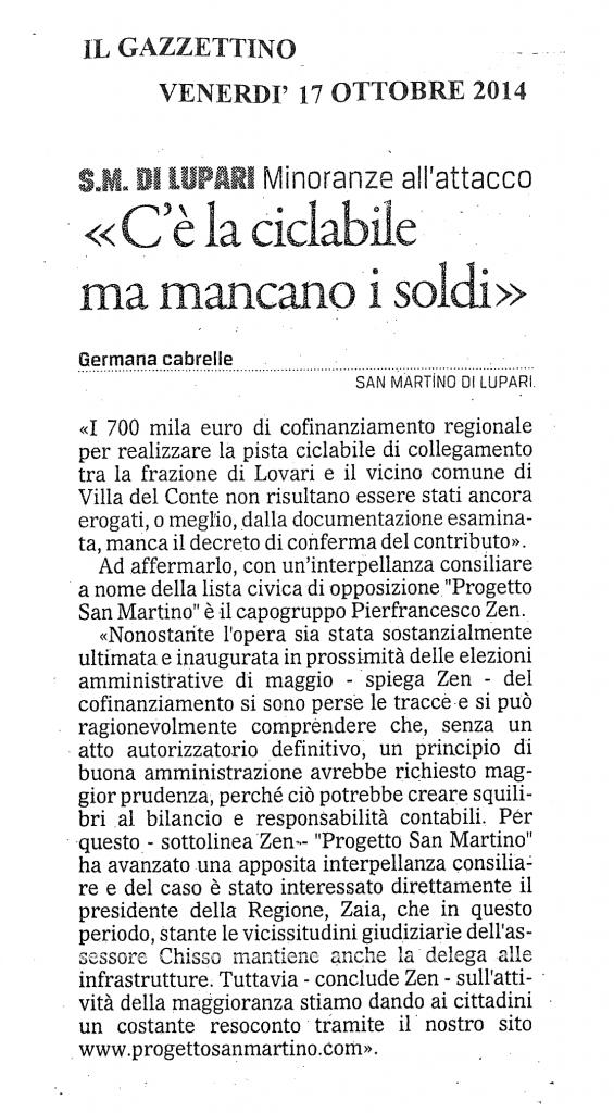Articolo-Gazzettino-C'è-la-cilabile-ma-mancano-i-soldi